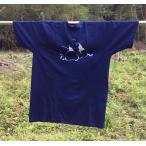 ショッピング布袋 藍染 手染め 型染のTシャツ オリジナル七福神の布袋さんの絵 送料無料