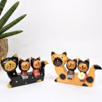 アジアンバリ雑貨♪ネコonネコカップル(ナチュラル・ブラック)♪おしゃれインテリアエスニック置き物オブジェバリ猫アニマル