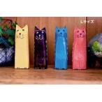 猫ねこアニマルオブジェアジアンバリ雑貨♪カラフルスリムネコL(イエロー・ピンク・ブルーグリーン・ブラウン)♪アジアンインテリアインテリア雑貨