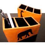 アジアン雑貨 バリ (アニマル彫刻リモコンラック 小物入れ 3段タイプ) リモコンラック ペン立て ペンスタンド 小物入れ 木製 エスニック リゾート