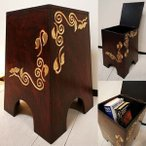 アジアン家具椅子収納ボックス♪リーフ柄収納スツール♪ボックススツールリビングダイニングキッチンエントランスインテリア雑貨