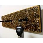 壁飾り ウォールプレート 壁掛けフック オブジェ アジアン雑貨 バリ ♪バリ島のハンガーフック(ゴールドマーク柄)♪ おしゃれ エスニック インテリア雑貨