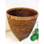 アジアン雑貨 バリ (ロンボク島のシンプルバスケット(M) バスケット かご ごみ箱 ダストボックス バンブー エスニック