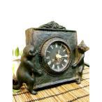 アジアン雑貨 バリ ♪ブロンズ調ネコ置時計(2匹タイプ)♪  置き時計 テーブルクロック 木製 天然木 エスニック