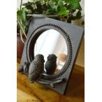 鏡スタンドミラー卓上ミラーアニマルアジアン雑貨バリ♪のぞき見フクロウの置き鏡(ブロンズ調)♪オブジェエスニックリゾートインテリア雑貨
