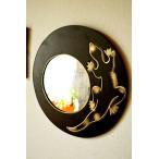 壁掛けウォールミラー壁掛けミラー壁掛け鏡アニマルアジアン雑貨バリ♪ゴールドトカゲのミラー(ラウンドタイプ)♪エスニックリゾートインテリア雑貨