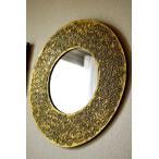 鏡壁掛けウォールミラー壁掛けミラー壁掛け鏡アジアン雑貨バリ♪バリ島のゴールドマークミラー(ラウンドタイプ)♪エスニックリゾート