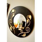 鏡壁掛けウォールミラー壁掛けミラーアジアン雑貨バリ♪スカルプリーフ柄のミラー(ラウンドタイプ)♪エスニックリゾート