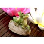 置物置き物オブジェオーナメント飾りアニマルアジアン雑貨バリ♪石乗りデート蛙♪アジアンインテリアインテリア雑貨デザイン雑貨