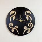 掛け時計掛時計ウォールクロック30cm花フラワーアジアン雑貨バリ♪リーフ柄壁掛け時計♪おしゃれアンティークエスニックリゾートインテリア雑貨