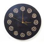 掛け時計掛時計ウォールクロック30cm丸型アジアン雑貨バリ♪スパイラル壁掛け時計♪おしゃれアンティークエスニックリゾートインテリア雑貨