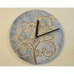 掛け時計掛時計ウォールクロック30cm丸型アジアンバリ雑貨♪ジャワツリー壁掛け時計(ホワイト)♪おしゃれアンティークエスニックインテリア雑貨