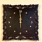 アジアンバリ雑貨♪フォリウム彫刻壁掛け時計♪おしゃれインテリアエスニックウォールクロック壁飾り