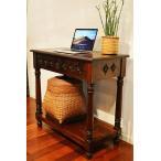 アジアン家具木製バリ♪JA花彫刻のコンソールテーブル80cm♪おしゃれインテリアエスニックサイドテーブル木製