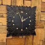 アジアンバリ雑貨♪アウラ彫刻壁掛け時計♪おしゃれインテリアエスニックウォールクロック壁飾り角型