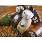 アジアン雑貨バリ(ナチュラルウッドアニマル×2匹とソファSET)置物オブジェオーナメントネコカエルウサギグッズ結婚祝い木製エスニック