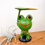 カエル置物(頭でっかち葉っぱ傘差しカエル)アジアン雑貨バリオブジェオーナメント木製エスニック