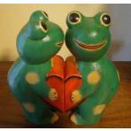 アジアン雑貨バリ(ハートペアカエル)置物オブジェオーナメント雑貨カエル蛙かえるグッズ木製エスニック