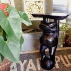 7月中旬入荷予定 置物インテリアおしゃれ花台(ブラウンカエルの花台50cm)アジアン雑貨バリ置き物オブジェフラワースタンド木製カエルグッズ