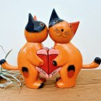 アジアン雑貨バリ(ハートペアネコ(ブラック/ナチュラル/レッド)置物オブジェ猫ネコエスニック