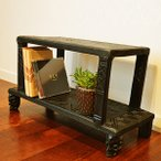 サイドテーブルおしゃれ木製花台(ロンボクテーブルラック2段(マハラニ)アジアン家具バリナイトテーブルフラワースタンドエスニック