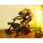 ショッピングアジアン アジアン雑貨 バリ (原人ハーレー(L)2人乗り〜) 置物 オブジェ 木製 エスニック