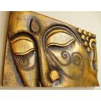 ウォールデコレーションレリーフ壁飾りインテリア(ブッダレリーフレッドゴールド)アジアン雑貨バリウォールオブジェエスニック