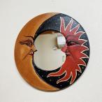 鏡壁掛けウォールミラー壁掛けミラー壁掛け鏡丸型20cmアジアン雑貨バリ♪月と太陽のミラー♪エスニックリゾートインテリア雑貨