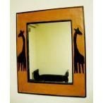 鏡壁掛けウォールミラー壁掛けミラー壁掛け鏡アニマルアジアン雑貨バリ♪キリンのミラーS♪エスニックリゾートインテリア雑貨