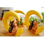 インテリア雑貨置物結婚祝い(三日月に乗ったアニマルカップル(M)(ネコ/カエル/ウサギ))アジアン雑貨バリオブジェ置き物猫カエルグッズウサギ木製