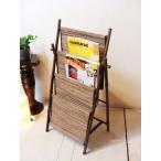 6月上旬入荷予定 アジアン家具 バリ (竹とココスティックのマガジンラック(折りたたみ式)) マガジンラック 本棚 雑誌棚 エスニック