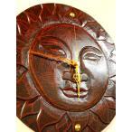 壁掛け時計おしゃれ木製インテリア8月下旬入荷予定 (ほほえみ太陽の壁掛け時計(フック付き)アジアン雑貨バリウォールクロック壁掛け壁飾り