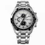 時計 メンズ  Curren White Case Stainless Steel Band Men Analog Quartz Auto Date Wrist Watch Silver White