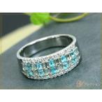 パライバトルマリン 明瞭で濃厚な0.30ct・ダイヤモンド0.57ct・幅広PT900リング 指輪  再入荷です  1点もの