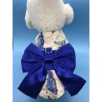 犬服 和服 浴衣 着物 ハーネス&リード ペット服 小型犬 中型犬 花火大会 夏祭り 蝶々柄青リボン
