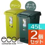 Yahoo!びーんず ヤフー店ふたつきゴミ箱 ecoコンテナスタイル 45L CS2-45J(グリーン×ダークグリーンお買い得2個セット)