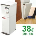 ゴミ箱 ペダル キッチン 分別ダストボックス 2段 スリム 38L ホワイト