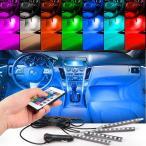 送料無料 イルミネーション 車内 LEDテープ RGB 7色切替 車内装飾用 シガーソケット リモコン付