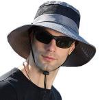 サファリハット メンズ【メッシュ通気構造 UVカット UPF50+】アドベンチャーハット 日よけ帽子 つば広 大きいサイズ 速乾・通気性抜群・紫外線対