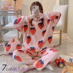 パジャマ もこもこ ルームウェア レディース 冬 長袖 ボアフリース パジャマ 厚手 イチゴ柄パジャマ上下セット 暖かい 部屋着 ふわふわ 大人可愛い 7色
