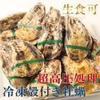 新物・ナイフ不要・生食OK!冷凍殻付き牡蠣・兵庫県産超高圧処理カキ Mサイズ(70g〜94g)×12個入