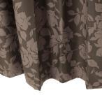 遮光カーテン 花柄 ブラウン ロワール 幅150cm×丈200cm2枚 防炎カーテン バラ柄カーテン
