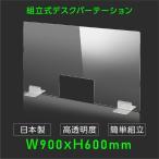 4月中旬予約販売 日本製 透明 アクリルパーテーション W900mm×H600mm 窓あり パーテーション アクリル板 仕切り板 間仕切り 衝立 飲食店 dptx-9060-m30
