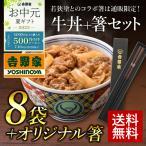 【お中元のし付き】吉野家オリジナル箸+牛丼8袋のセット ※こちらの商品にどんぶりは付きません