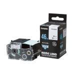 (まとめ) カシオ CASIO ネームランド NAME LAND 強粘着テープ 46mm×5.5m 白/黒文字 XR-46GWE 1個 〔×2セット〕