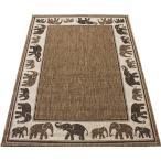 アジアンカーペット 約120×170cm ブラウン 平織り デコラ象(Y)