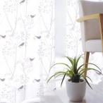 デザインレースカーテン ミキニコトリ ボイル 幅100×丈133cm