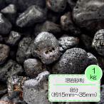 砂利 黒 溶岩 砂利 テラリウム水槽 庭 敷き ガーデニング 溶岩砂利 ブラック 8分 (約15〜35mm) 1kg