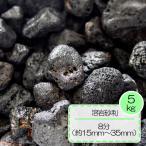 砂利 黒 溶岩 砂利 テラリウム水槽 庭 敷き ガーデニング 溶岩砂利 ブラック 8分 (約15〜35mm) 5kg