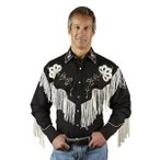 ショッピングフリンジ ウエスタンシャツ フリンジ フラワー 刺繍  メンズ 長袖 カウボーイシャツ アメカジ おしゃれ 衣装 大きいサイズ S M L